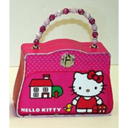 Hello Kitty Satchel Carry All Tin Purse with Beaded Handle -