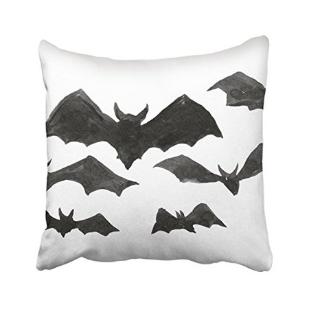 RYLABLUE Halloween Black And White Bats Patterns Decorative Pillowcases With Hidden Zipper Decor Cushion Covers Two Sides 20x20 inches - image 1 of 1