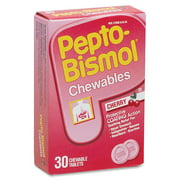 Pepto Bismol Chewable Tablets 5 Symptom Stomach Relief, Cherry, 30 ct
