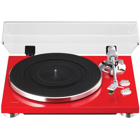 Teac TN-300-R 2-Speed Analog Turntable, Red by