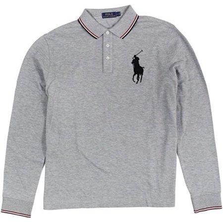 043803ba Polo Ralph Lauren Big Pony Men's Mesh Long Sleeve Polo Shirt Gray Size XL