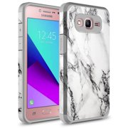 Galaxy Grand Prime Case, KAESAR SLIM Hybrid Dual Layer Shockproof Hard Cover Graphic Fashion Cute Colorful Silicone Skin Case for Samsung Galaxy Grand Prime / SM-G530 - White Marble