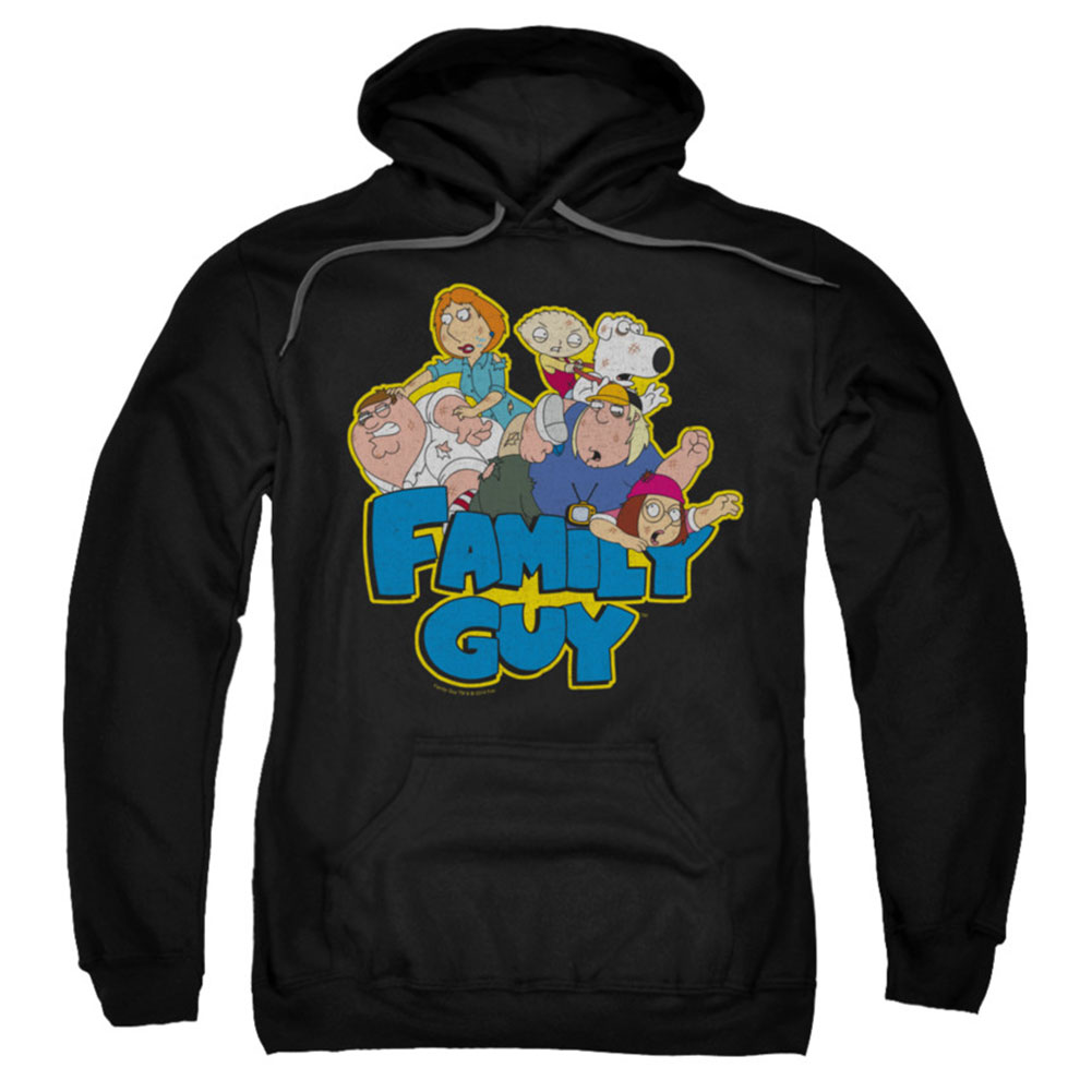 Family Guy Men's  Family Fight Hooded Sweatshirt Black