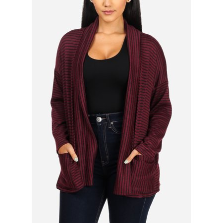 Womens Juniors Casual Long Sleeve Open Front 2 Pocket Black And Burgundy Stripe Cardigan 30700P