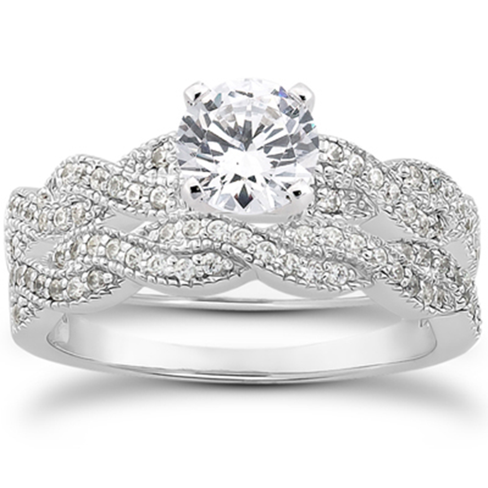 5 8ct Pave Diamond Infinity Engagement Wedding Ring Set Vintage White Gold 14k by Pompeii3