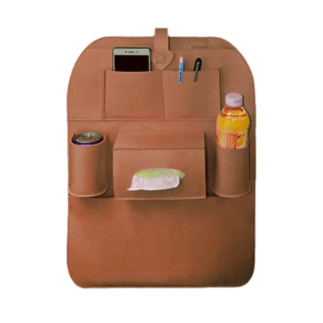 Brown Auto Car Seat Back Organiser Multi Pocket Hanging Holder Storage Bag