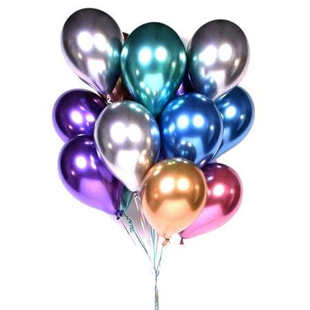 Balloon For Birthday (50Pcs Latex Metallic Balloons Shiny Thicken Balloon for Birthday Party)