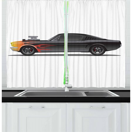 Cars Curtains 2 Panels Set, Custom Design Muscle Car with Supercharger and Flames Roadster Retro Styled, Window Drapes for Living Room Bedroom, 55W X 39L Inches, Black Orange Red, by Ambesonne
