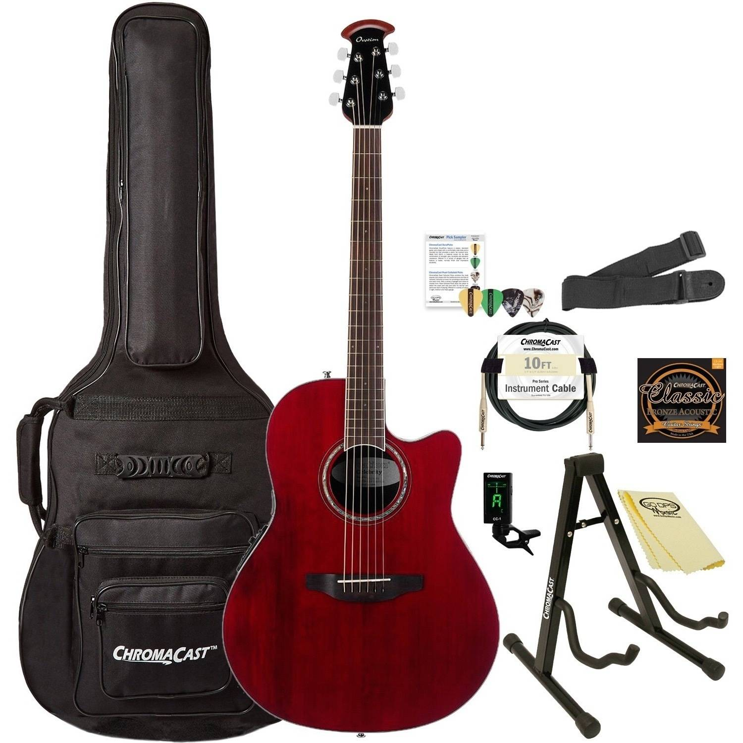 Ovation Celebrity Standard CS28-RR Super Shallow Acoustic-Electric Guitar (Ruby Red Finish) with ChromaCast Accessories