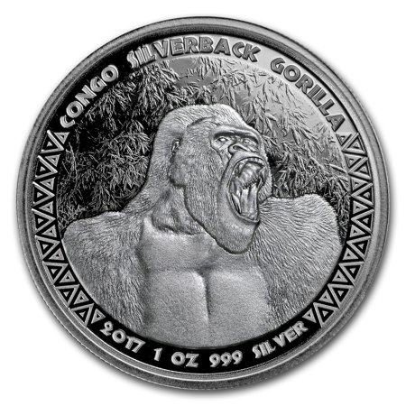 2017 Republic of Congo Silver 1 oz Silverback Gorilla