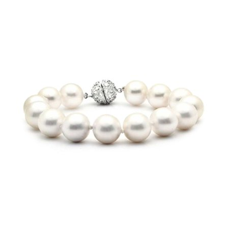 Crystal White Pearl Bracelet (White Strand Bracelet For Women Rhodium Plated Crystal Clasp Simulated Pearl 10mm 8)