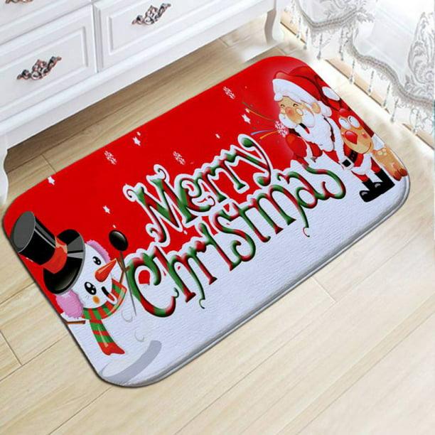 Details about  /Bath Mat Christmas Fireplace Xmas Tree Flannel Rug Anti-slip Floor Mat Door Mat