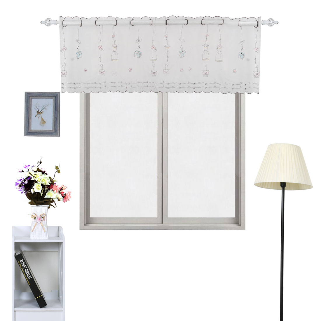 Polyester Flower Pattern Curtain Window Valance Multicolor 60 Inch x 17 Inch - image 2 of 7