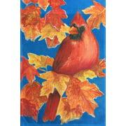 """Autumn Cardinal Fall House Flag Leaves by Custom Decor 28"""" x 40"""""""