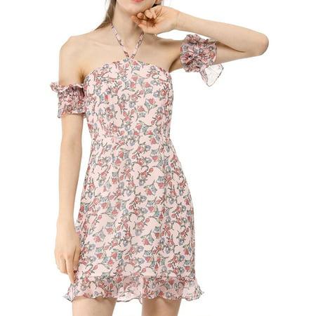 Allegra K Juniors Teen Floral Print Strap Detachable Sleeves Halter Dress