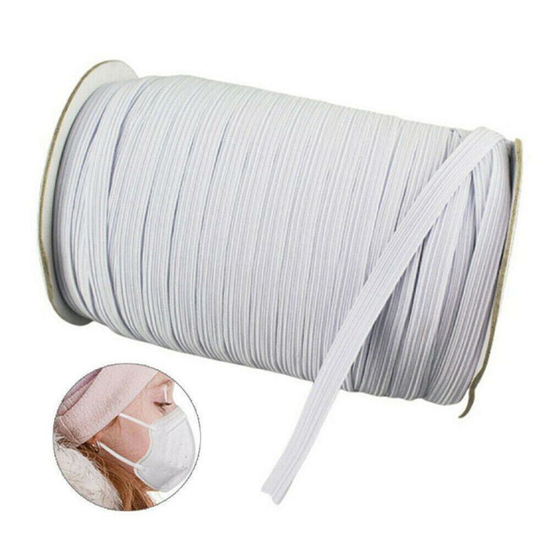 White Braided Polyester Elastic Roll 3mm 100 Yards COTOWIN 1//8-inch
