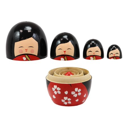 Ebros Gift Red Japanese Kokeshi Girl Wooden Toy Stacking Nesting Dolls 5 Piece Set Hand Painted Wood Decorative Collectible Matryoshka Doll Toys for Children Christmas Mother's Day Birthday Gifts ()