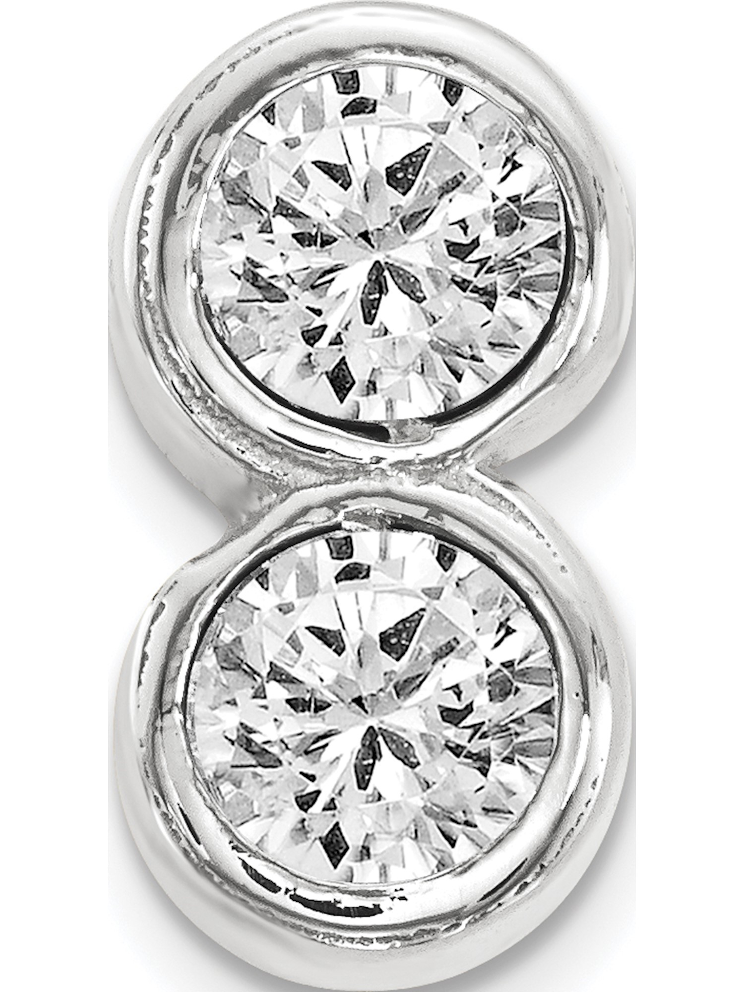 14KW Polished 2-stone Earring Mounting 4 mm center stones 2-Stone Earrings