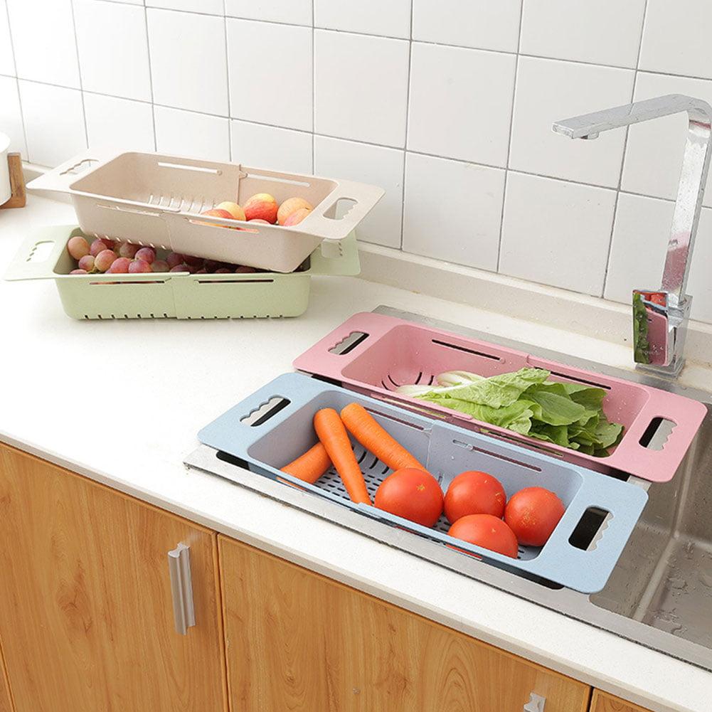 Heepo Hollowed Plastic Retractable Vegetable Basket Kitchen Fruit Washing Drain Rack