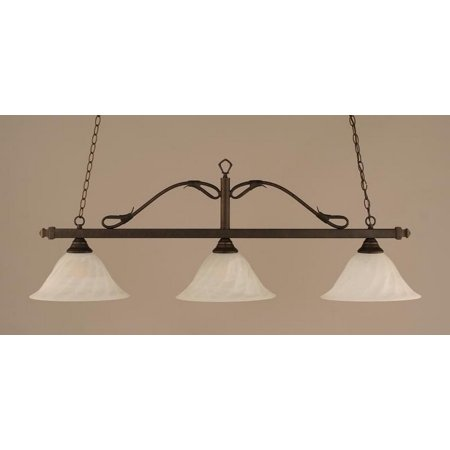 Toltec Lighting-823-BRZ-5731-Scroll - Three Light Billiard  Bronze