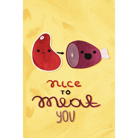 Nice to Meat You Kitchen Pun & Dining Fine Art Wall Decor Plastic Large Signs, 12x18 ()