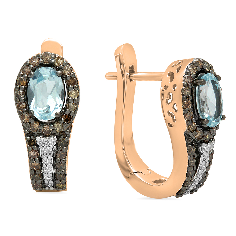14K Gold Oval Cut Blue Topaz & Round Cut Champagne & White Diamond Ladies Halo Hoop Earrings