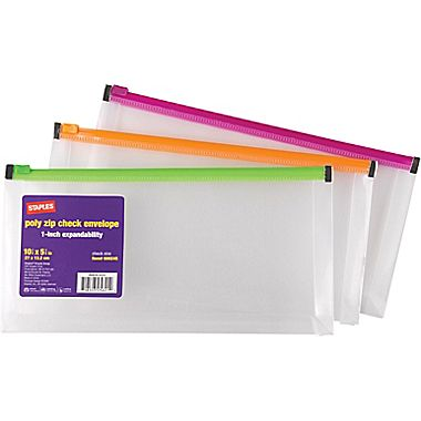 "Staples 1"" Poly Zip Envelopes, Check Size, Each"