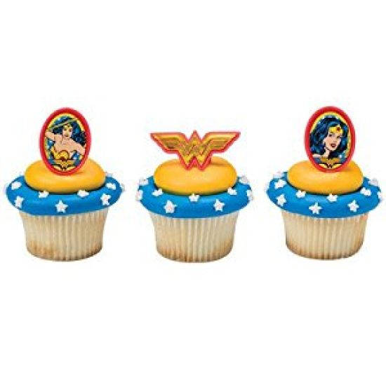 24 Wonder Woman Amazing Amazon Cupcake Cake Rings Birthday Party