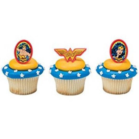 24 Wonder Woman Amazing Amazon Cupcake Cake Rings Birthday Party Favors Toppers](Batman Cupcake Rings)