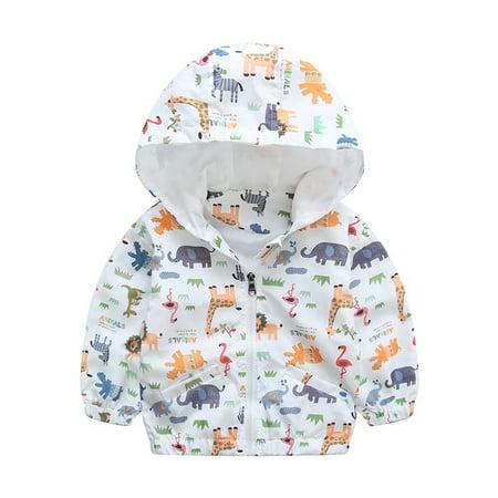 90-120cm Animal Baby Girls Jacket Active Hooded Outerwear Coats Boys Kids Children Clothing Giraffe Printing Jacket Windbreaker - Baby T Bird Jacket