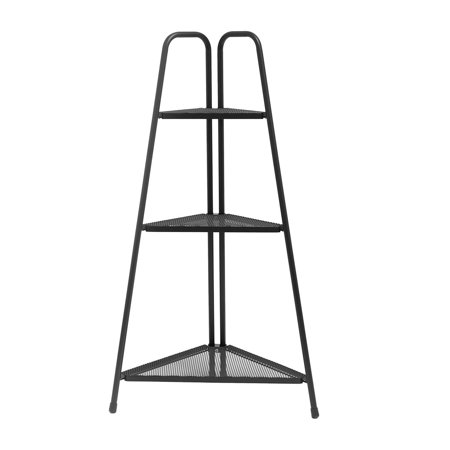 Iuhan Nordic Corner Bookcase Wall Shelf Three-Story Indoor Wrought Iron Flower Stand ()