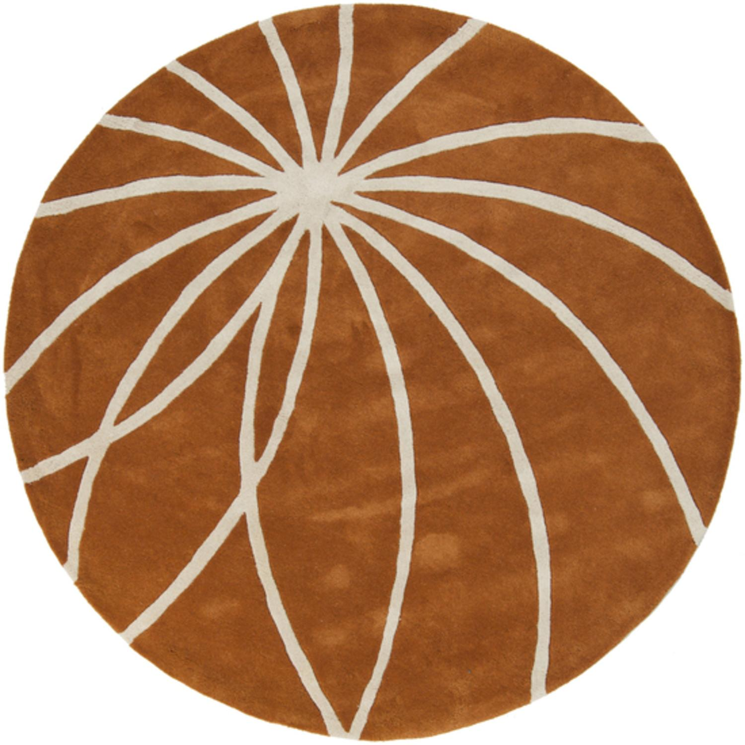 6' Plasma Elektra Red Chili & Pearl White Hand Tufted Wool Round Area Throw Rug
