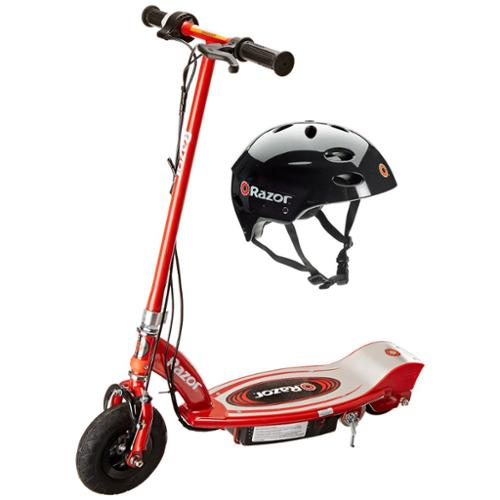 Razor E100 24V Motorized Electric Scooter (Red) & Youth Sport Helmet (Black)