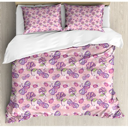 Floral Queen Size Duvet Cover Set, Butterflies Flowers Cartoon Stylized Kids Girls Baby Playroom Nursery Theme, Decorative 3 Piece Bedding Set with 2 Pillow Shams, Pale Pink Lavander, by Ambesonne