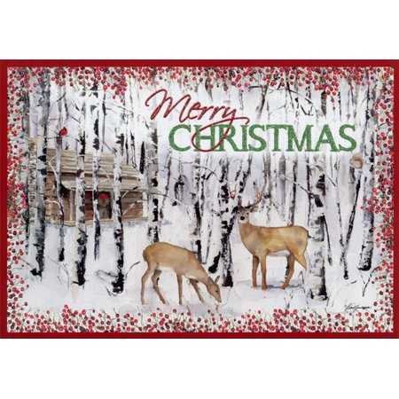 LPG Greetings Deer and Birches: Box of 14 Barb Tourtillotte Deluxe Glitter Wildlife Christmas Cards (Wild Halloween Cards)