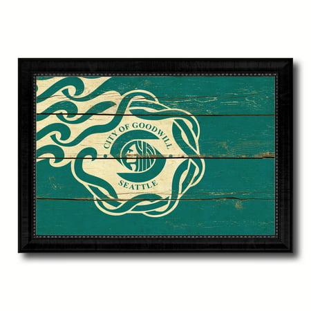 Seattle City Washington State Flag Vintage Canvas Print Black Picture Frame Home Decor Wall Art Gifts - (Seattle Washington Mall)
