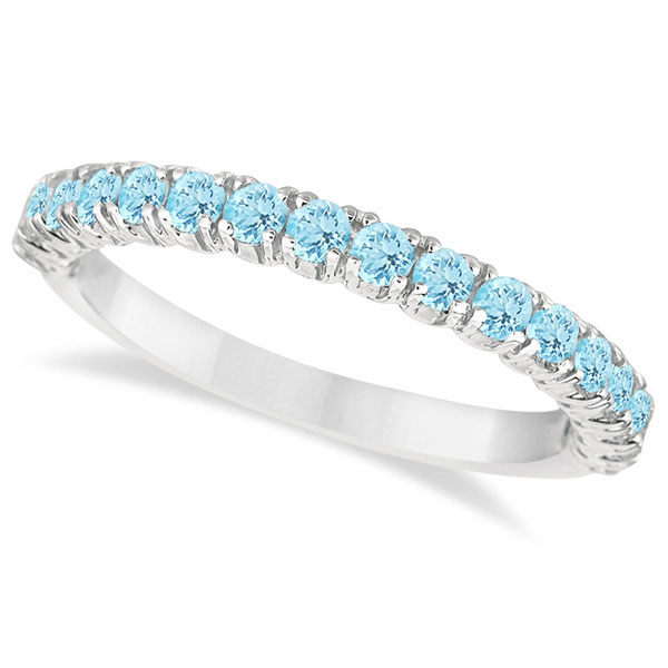 Half-Eternity Pave-set Aquamarine Stacking Ring 14k White Gold (0.95ct) by
