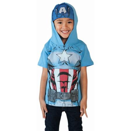 Toddler Boys Captain America Halloween Costume T-Shirt w/ Hooded - Navy Captain Uniform Costume