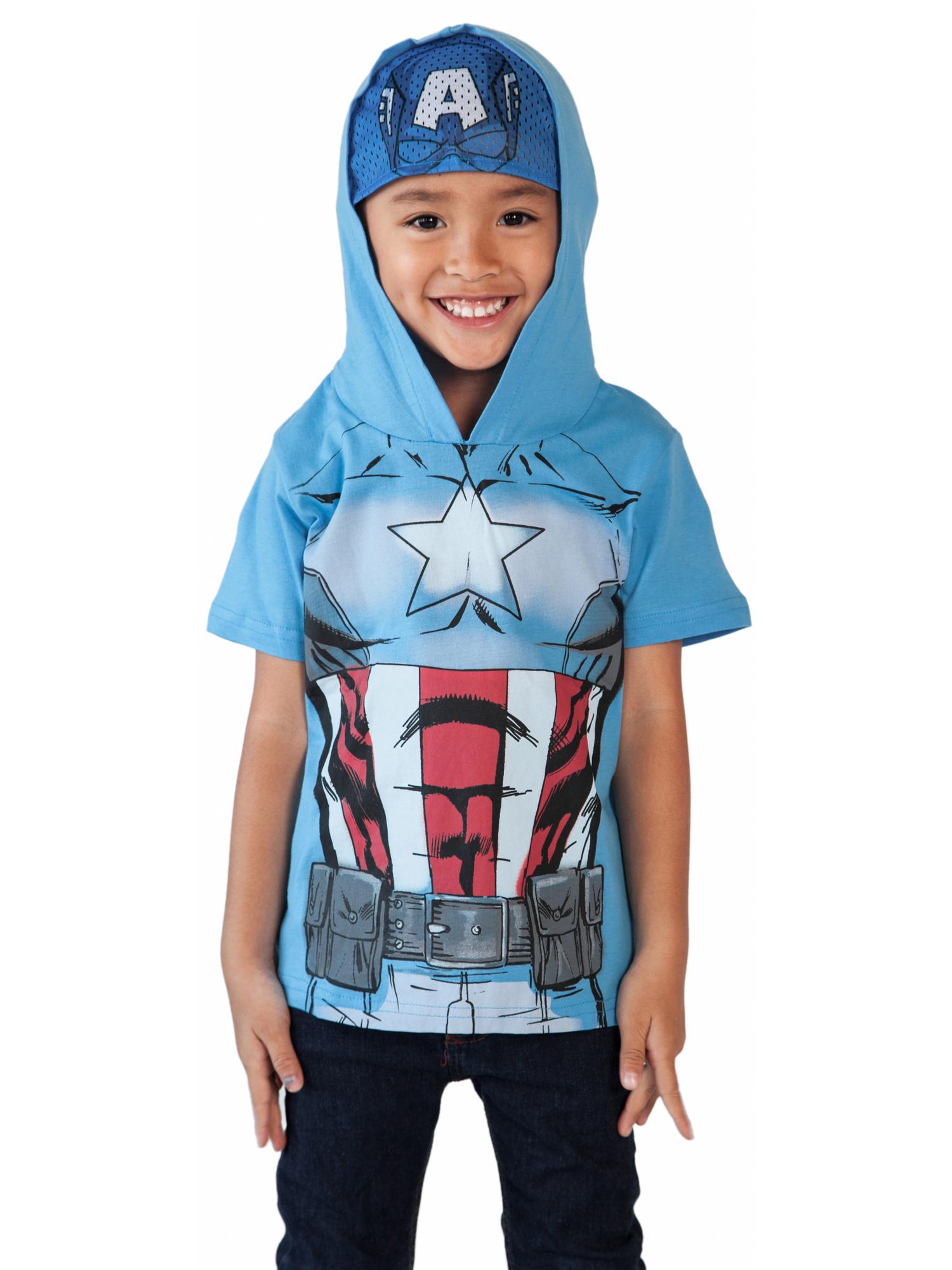 Toddler Boys Captain America Halloween Costume T-Shirt w/ Hooded Mask