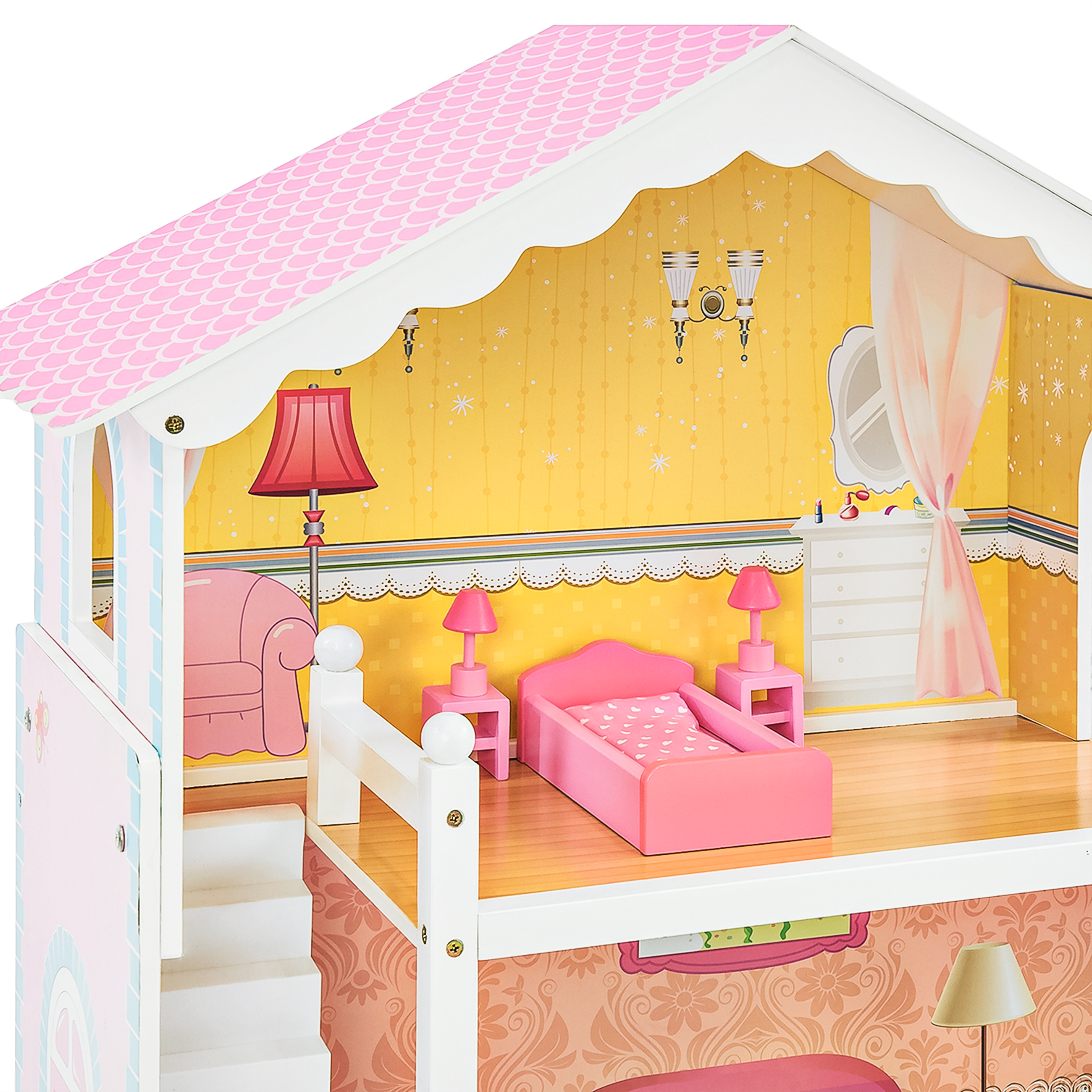 pink dolls house furniture. Best Choice Products Large Childrens Wooden Dollhouse Fits Barbie Doll House Pink W/ 17 Pieces Of Furniture - Walmart.com Dolls