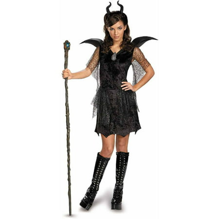 Maleficent Movie Costumes (Maleficent Deluxe Black Gown and Headpiece Girls' Teen Halloween)