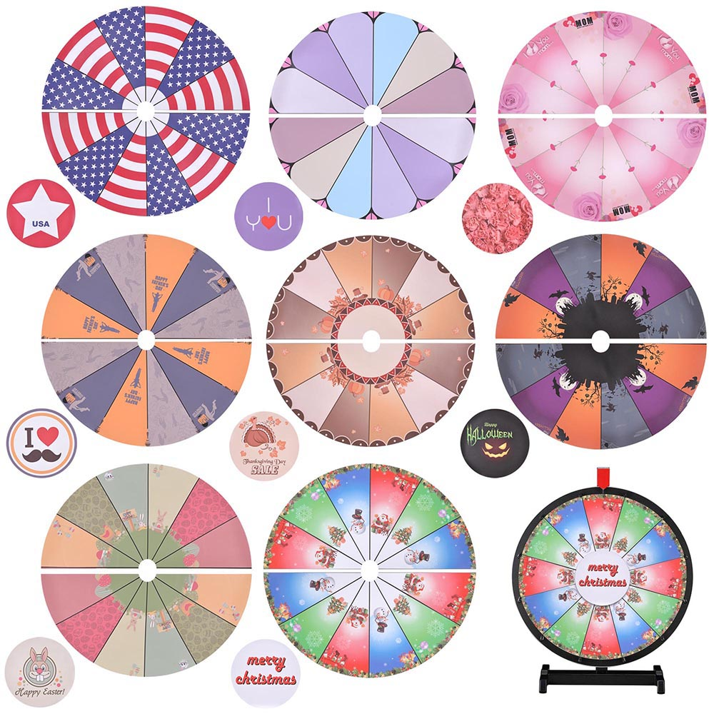 "winspin™ 8 pcs 18"" prize wheel template background, Powerpoint templates"