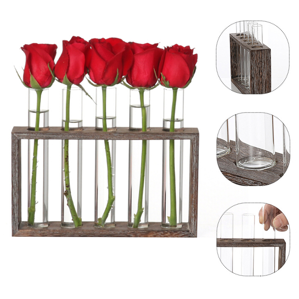 Glass Planter Propagation Station Test Tube Vase Flower Pots in Wood Stand