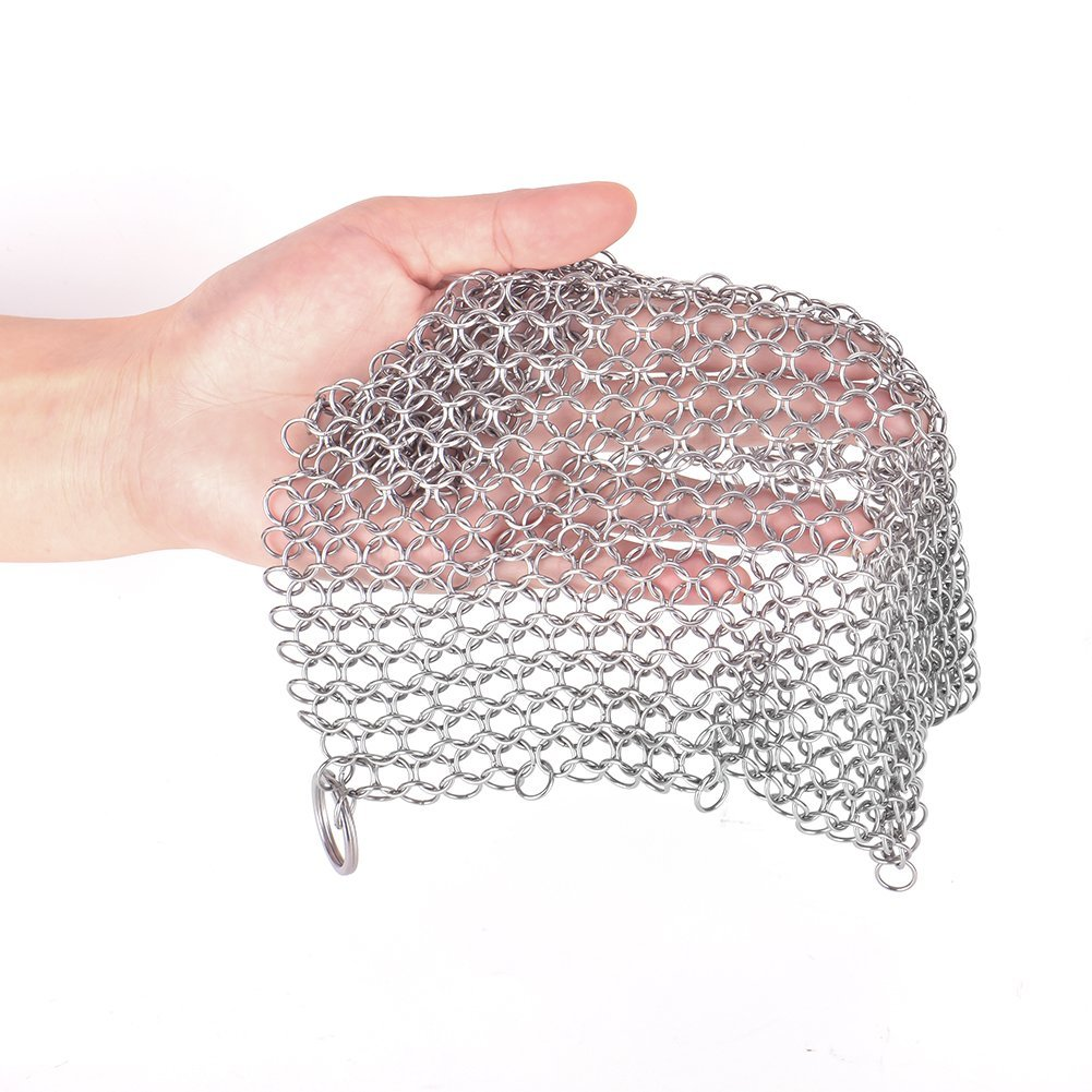 Cast Iron Cleaner - XXL 8'' x8'' 316 Grade Stainless Steel Chainmail Scrubber