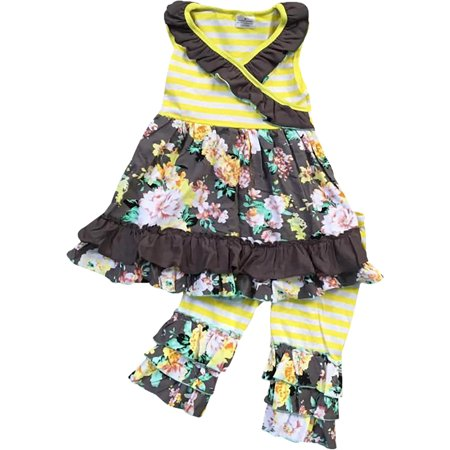 Little Girl Kids Sleeveless Floral Stripes Dress Ruffle Capris Set Yellow 2T XS 317229 BNY Corner