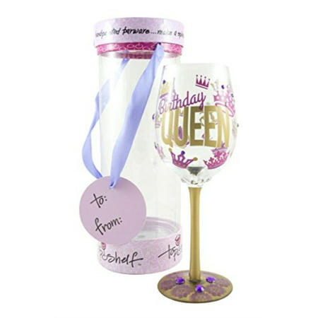 Top Shelf Birthday Queen?? Decorative Wine Glass ; Funny Gifts for Women ; Hand Painted Purple and Gold Design ; Unique Red o - Purple Wine Company