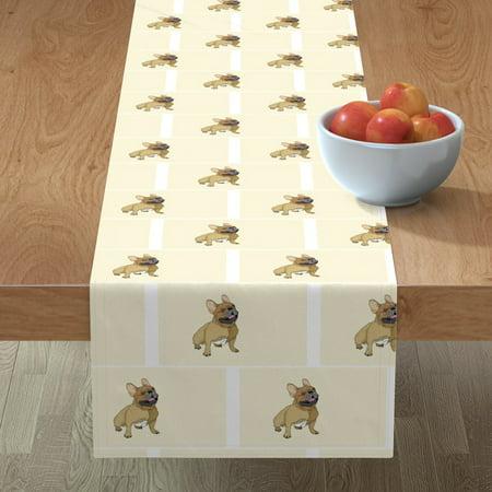 Table Runner French Bulldog Dog Canine Cotton Sateen (American Bulldog Dog Shoes)