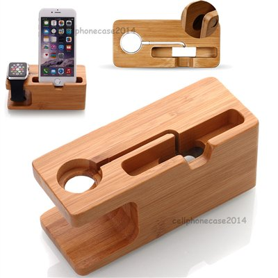NEO Bamboo Charging Docking Station Charger Stand Holder For iWatch and iPhone ()