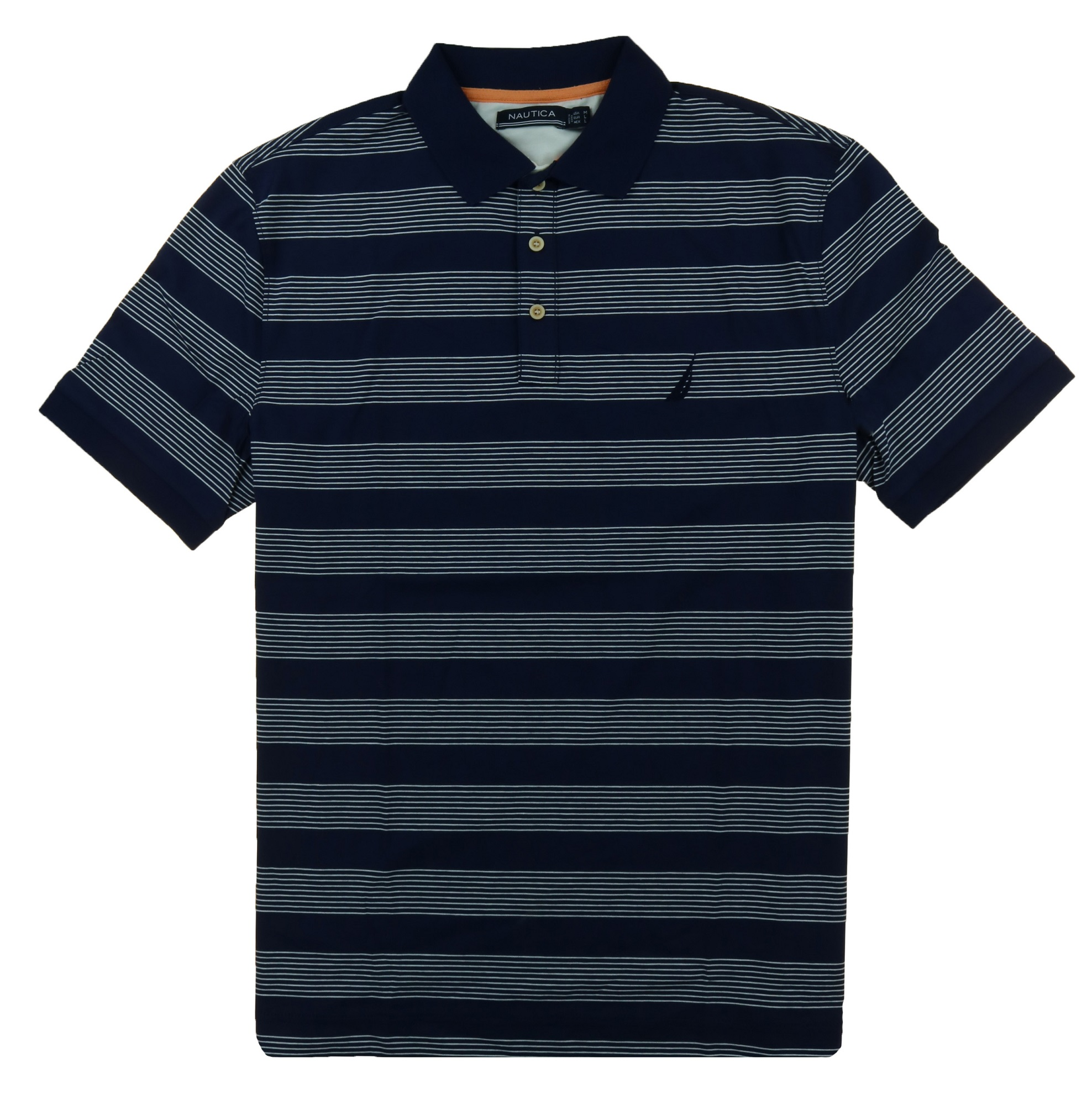 Nautica Mens' Short Sleeve Cotton Polo (Color: Peacoat, Size Medium)