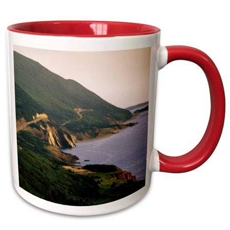 3dRose Cabot Trail, Cape Rouge, Cape Breton, Nova Scotia - CN07 WBI0021 - Walter Bibikow - Two Tone Red Mug, 11-ounce (Nova Scotia Trails)